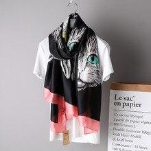 10300a833 Gran bufanda de seda para las mujeres de lujo gato de dibujos animados de  impresión de diseño Foulard chal grande [3361]