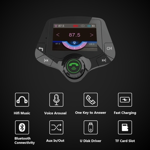 Image 2 - G24 HD Color Screen Wireless Car Kit Bluetooth MP3 Player Hands free Calling FM Transmitter Car Kit support QC 3.0 Fast charger