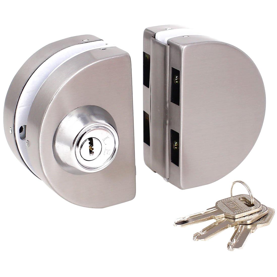 Entry Gate 10-12mm Glass Swing Push Sliding Door Lock with Keys