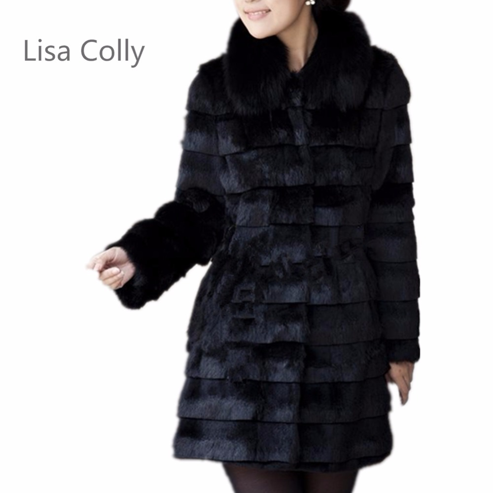 Lisa Colly Women Fur Coats Long Winter Fur Coat  Ladies Long Sleeves Faux Fur Jackets Outwear White Black Coats