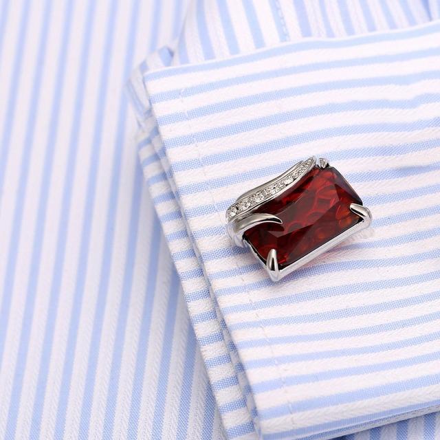 High Men's Cufflink Silver Plating Red Zircon Shirt Cuff Links 162