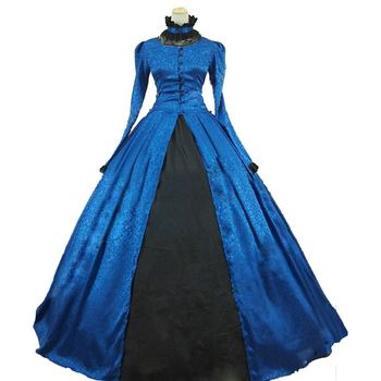 2018 Stand Collar Gothic Victorian Party Princess Dress Retro Long Sleeve Blue Masquerade Party Ball Gowns Costume