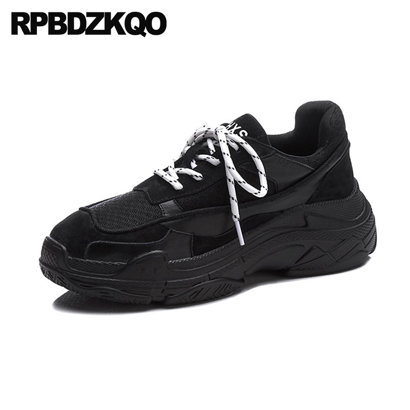 Breathable Leisure Creepers Platform Shoes Black Women 10 Trainers Red Harajuku Large Size Lace Up Mesh Elevator 11 Sneakers