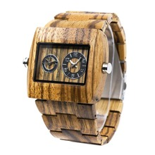 BEWELL Groomsmen Mens Handmade Business Wristwatches Full Natural Zabra Wooden Band Quartz Watch With Gift Box Relogio 021C