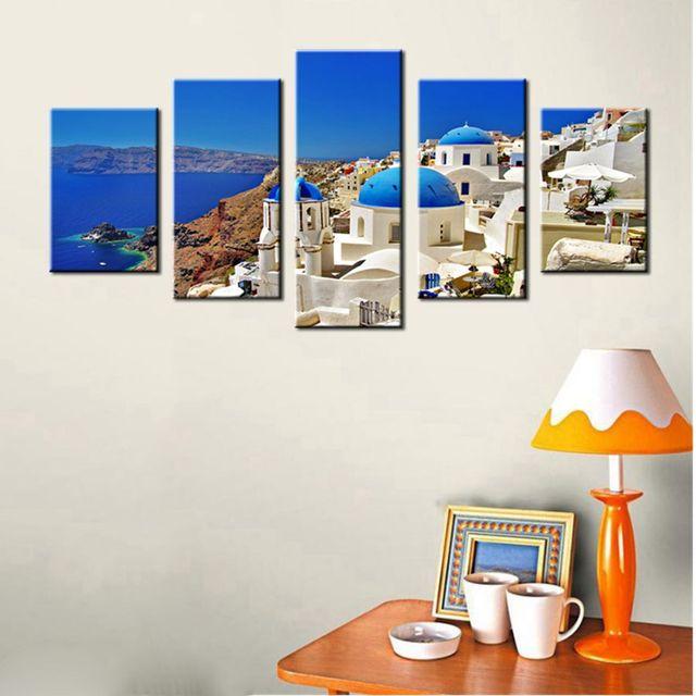 Wall Art Canvas Prints Santorini Island Greece White House Church ...