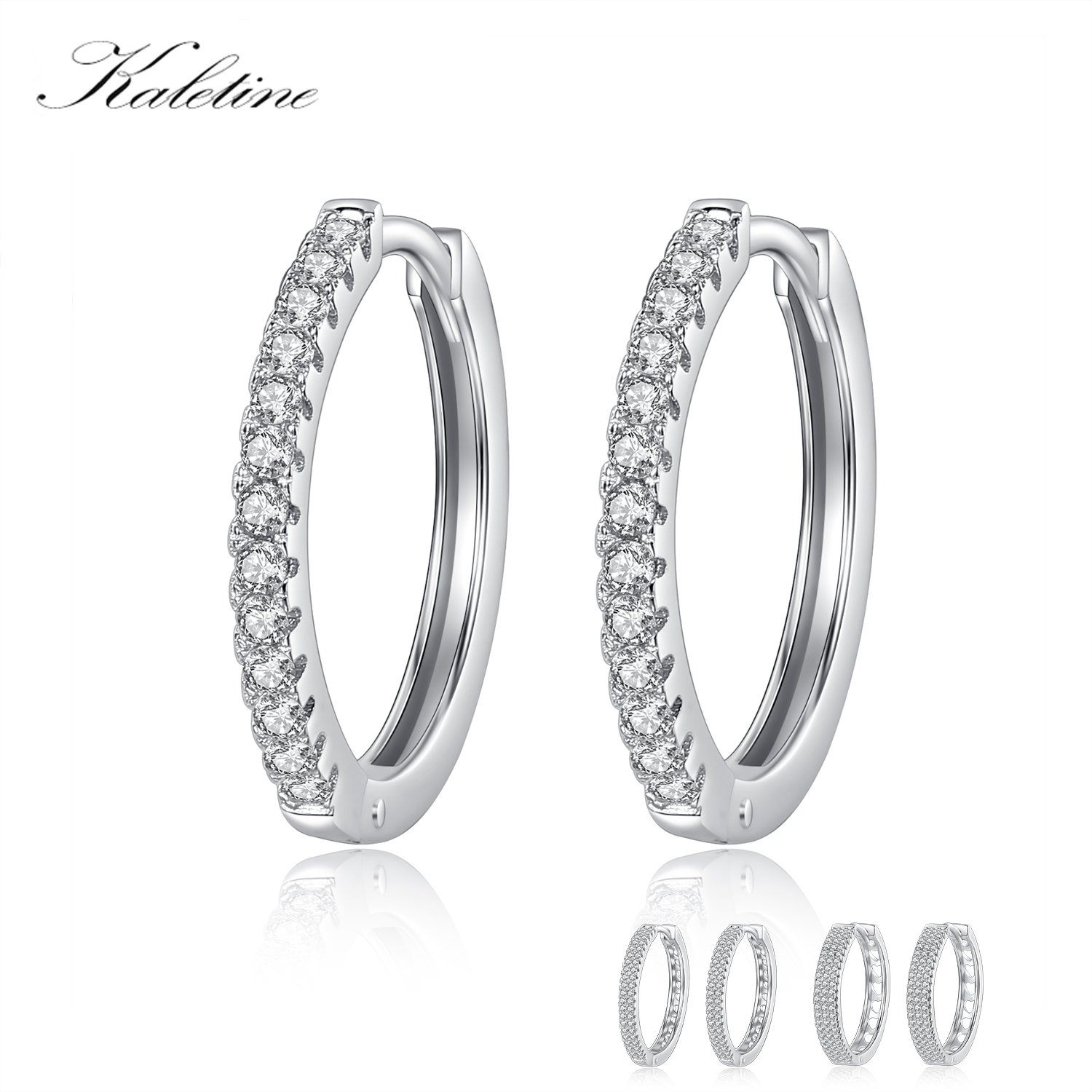 82051a203 Detail Feedback Questions about KALETINE Real 925 Sterling Silver Big Hoops  Earrings Fashion Jewelry Wedding 2018 CZ Huggie White Gold Earrings For  Women 6 ...