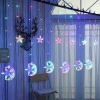 Led stars moon curtain light background lights window decoration girl heart flashing string lights bedroom ice lighting