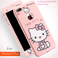 3D cartoon hello Kitty 360 degree cover for iphone 7 /7 plus shell protection phone pink case for iphone7 coque cases free glass