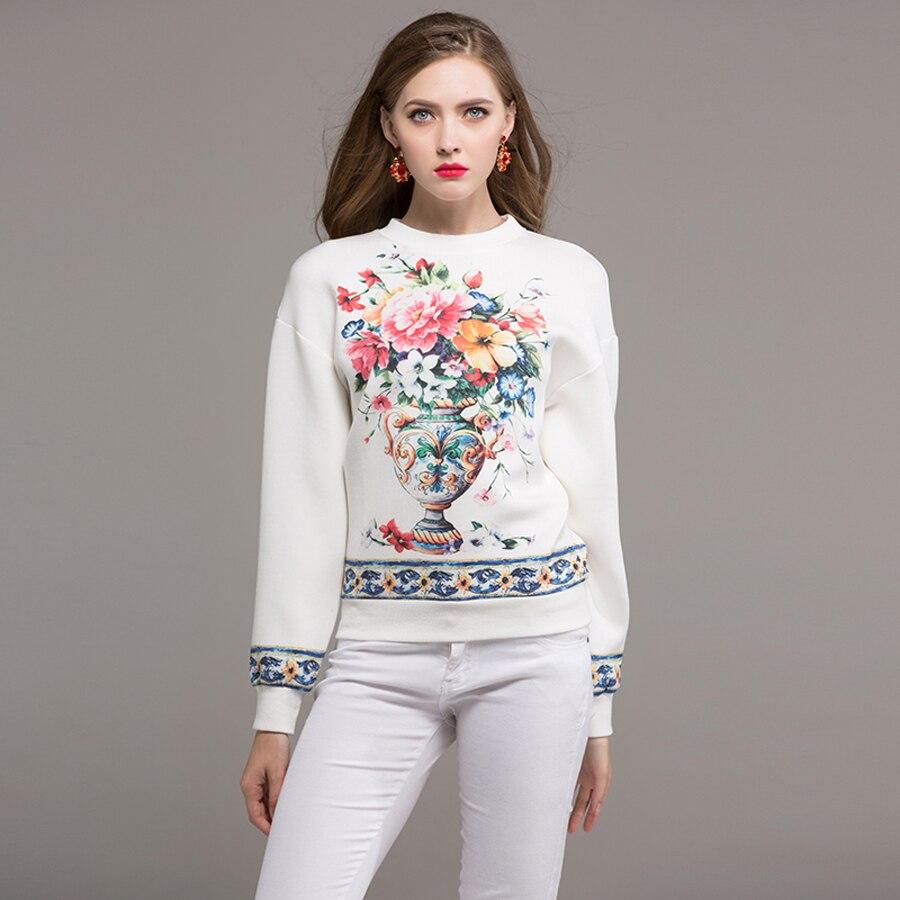 455396aa68c Sweatshirt Lose Hohe 2019 Weiß Blumen Druck Winter Frauen Korean Neue Top  Herbst Baumwolle Weiß Pullover Mode Qualität hsCxrtQd