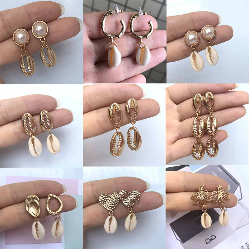 Fashion Cowrie Sea Shell Earrings Women Gold Color 2019 New Summer Statement Shell Drop Earrings for women Gift Party Wedding
