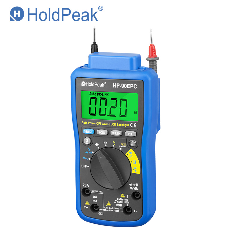 HoldPeak HP-90EPC Multimetro Digitais USB Multimeter Digital Temperature Instruments Capacitance Meter Data USB with Data Hold holdpeak hp 90epc multimetro digitais usb multimeter digital auto range multimeter capacitance meter data usb with carry bag