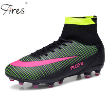 Long Spikes Soccer boots Football Boot\Shoes Medium cut 4 Colors Size 39-46 Men Outdoor Sports Sneaker Boy Turf(TF) Soccer shoes