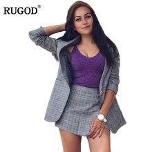 RUGOD 2017 Fashion Two Piece Set Long Paragraph Lattice Suit Jacket Irregular Skirt Pants Suit Single Button 2 Piece Set Women