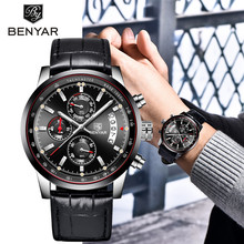 BENYAR Fashion Chronograph Sport Men's Watches Top Brand Luxury Quartz Watch Casual Military Leather Men Clock Relogio Masculino недорого