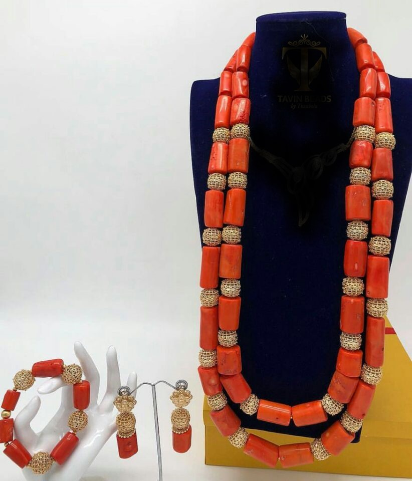 HTB15IGIKb1YBuNjSszeq6yblFXaa 26inches Double Layeres Original Coral Nigerian Wedding Beads Jewelry Set Women Coral Costume Necklace Set CNR892