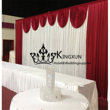 10ft*20ft BURGUNDY SWAGS  With White Wedding Backdrop Free Shipping