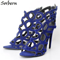 Sorbern Blue Women Sandals Ladies 2018 Summer Sandalias Mujer High Thin Heels Large Size Womens Sandals