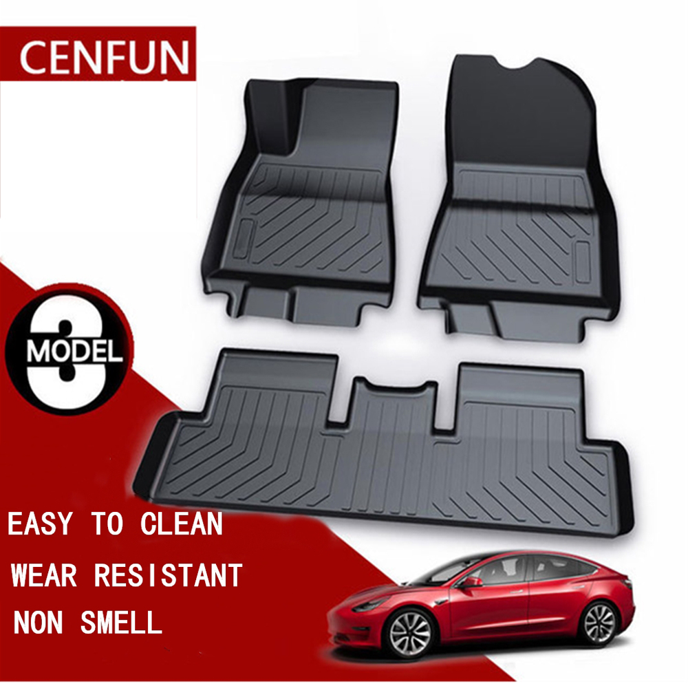 Floor Mats Storage Trunk Mats Compatible for Tesla Model 3 Front and Rear 2 Rows All Weather Heavy Duty Rubber Car Floor Liners(China)