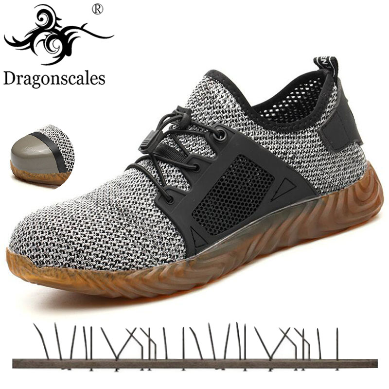 2019 New Breathable Mesh Safety Shoes Men Light Sneaker Indestructible Steel Toe Soft Anti-piercing Work Boots Plus Size 36-48(China)