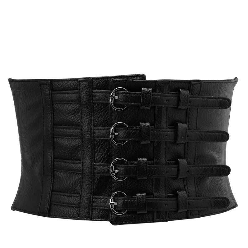 Black Retro Lady Waist Shape Corset Wide Elastic Faux Leather Stretch Cummerbunds
