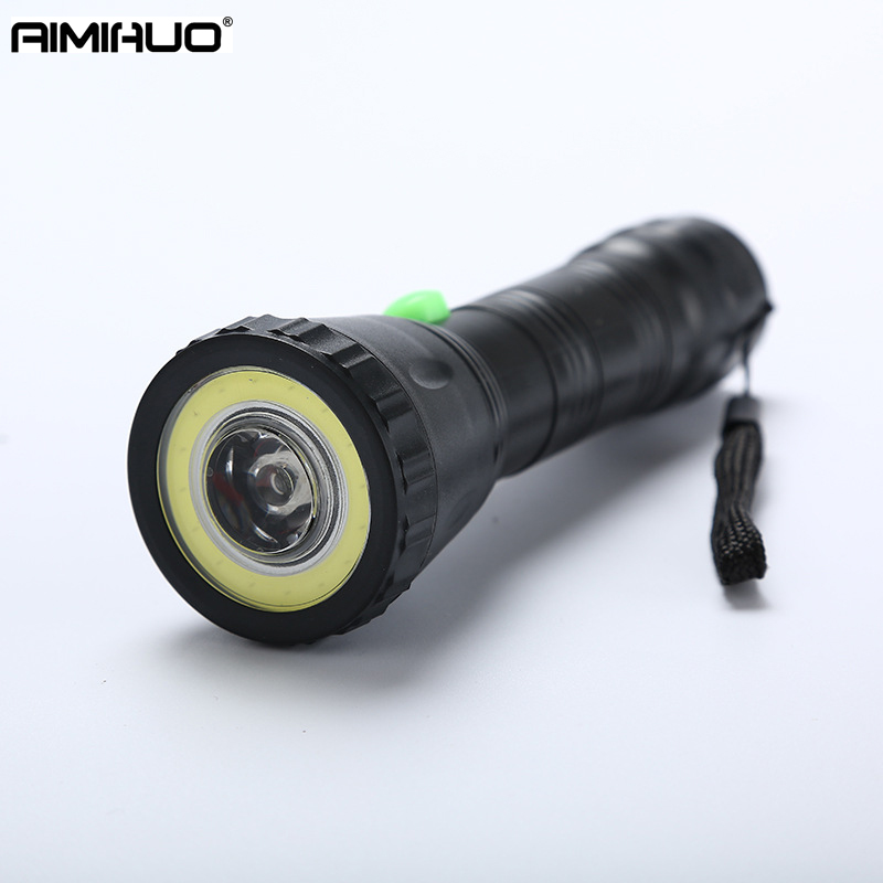 AIMIHUO Flashlight LED Q3 hand-held 3 Modes Torch COB Hard Light Fishing Camping LED Lanterna Lamp Torch For AAA Battery