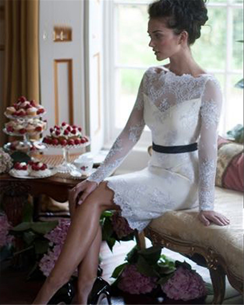 Above Knee Short White Lace Sheath Bridal Gown Long Sleeve Vestido De Noiva Robe De Mariee 2018 Mother Of The Bride Dresses