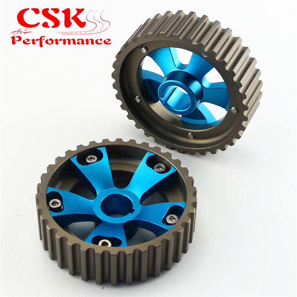 1 Pair Adjustable Cam Gears Pulley Kit Fits For <font><b>Honda</b></font> <font><b>Civic</b></font> Acura <font><b>B16A</b></font> B16B DOHC Blue image