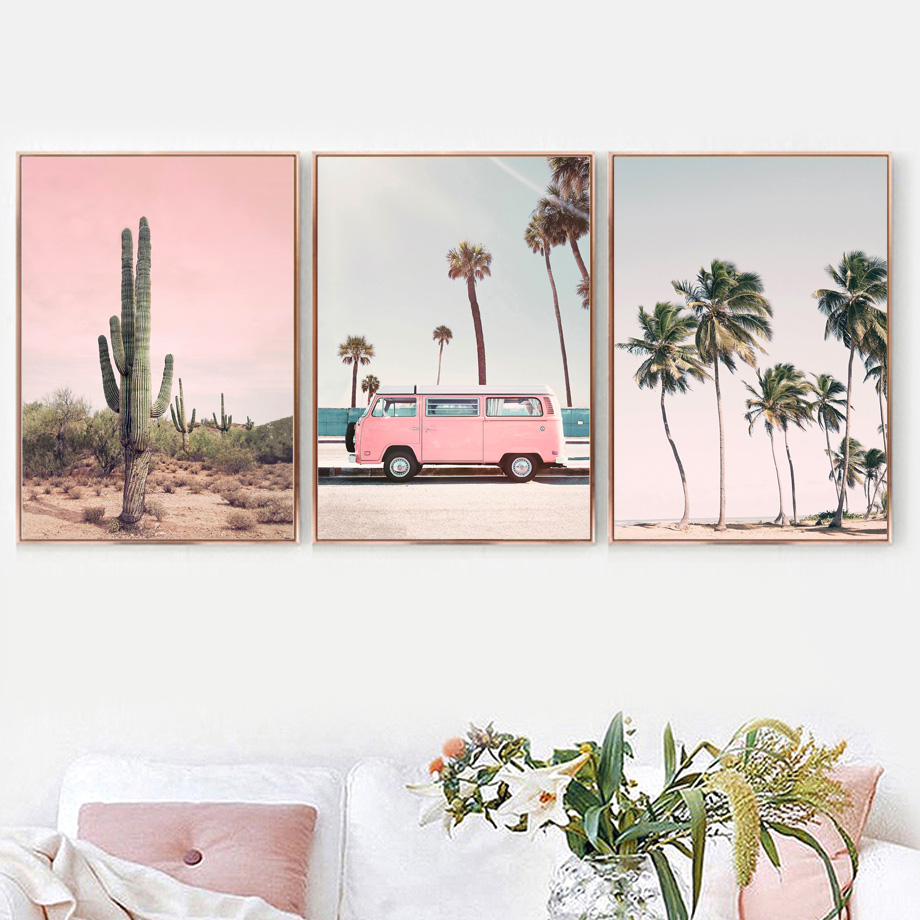 HTB15IGnbsnrK1RjSspkq6yuvXXaY Pink Bus Cactus Pineapple Blue Sea Beach Wall Art Canvas Painting Nordic Posters And Prints Wall Pictures For Living Room Decor