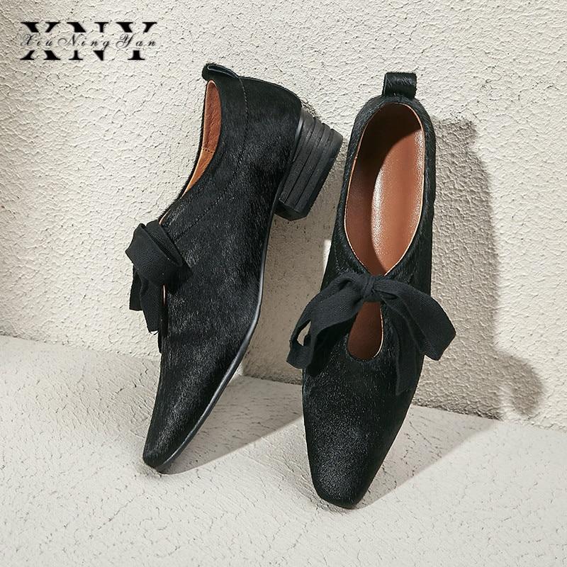 XIUNINGYAN más el tamaño de las mujeres de crin encaje up Flats Oxfords marca diseñador vestido cuadrado mujer zapatos cómodos zapatos mujer - 6