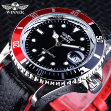 Winner 2018 Fashion Black Red Sport Watches Calendar Display Automatic Self wind Watches for Men Luminous Hands Genuine Leather