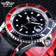 Часы наручные Winner мужские с автоподзаводом, модные спортивные светящиеся, с календарем, натуральная кожа, черные красные, 2018