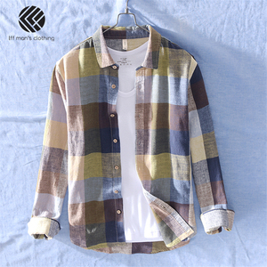 Image 1 - 男性春と秋のファッションブランド中国カラフルなチェック柄のコットンリネン長袖シャツ男性カジュアル薄型シャツ