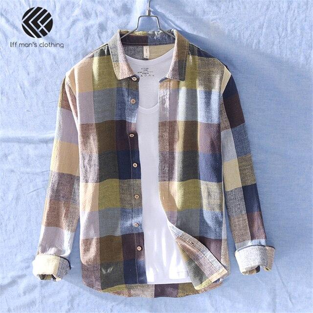 男性春と秋のファッションブランド中国カラフルなチェック柄のコットンリネン長袖シャツ男性カジュアル薄型シャツ