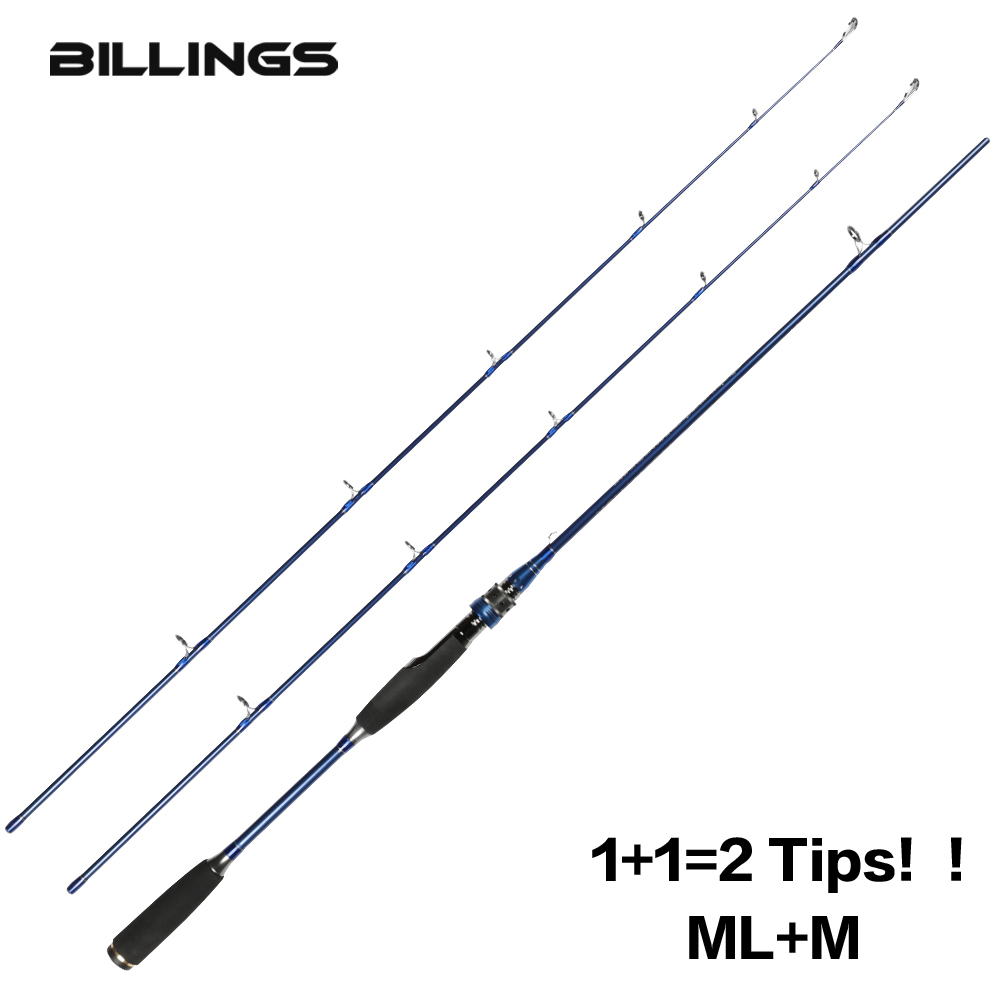 BILLINGS Original ML M 2 Tips 1.8M Cheap Carbon Fiber Casting Spinning Fishing Rod 2 Section Ultra Saltwater Spinning Casting