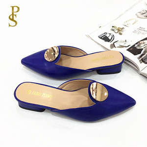 Image 3 - Ladys slippers with pointed toes Square   heeled womens summer slippers