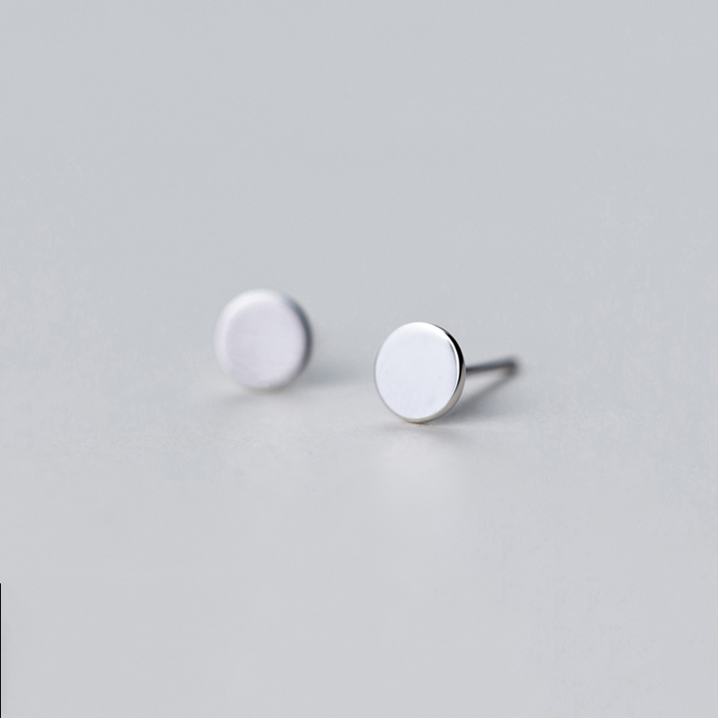 Peri'sBox 925 Sterling Sliver Round Shape Small Stud Earrings Smooth Geometric Stud Earrings Minimalist Mini Tiny Earrings Gifts