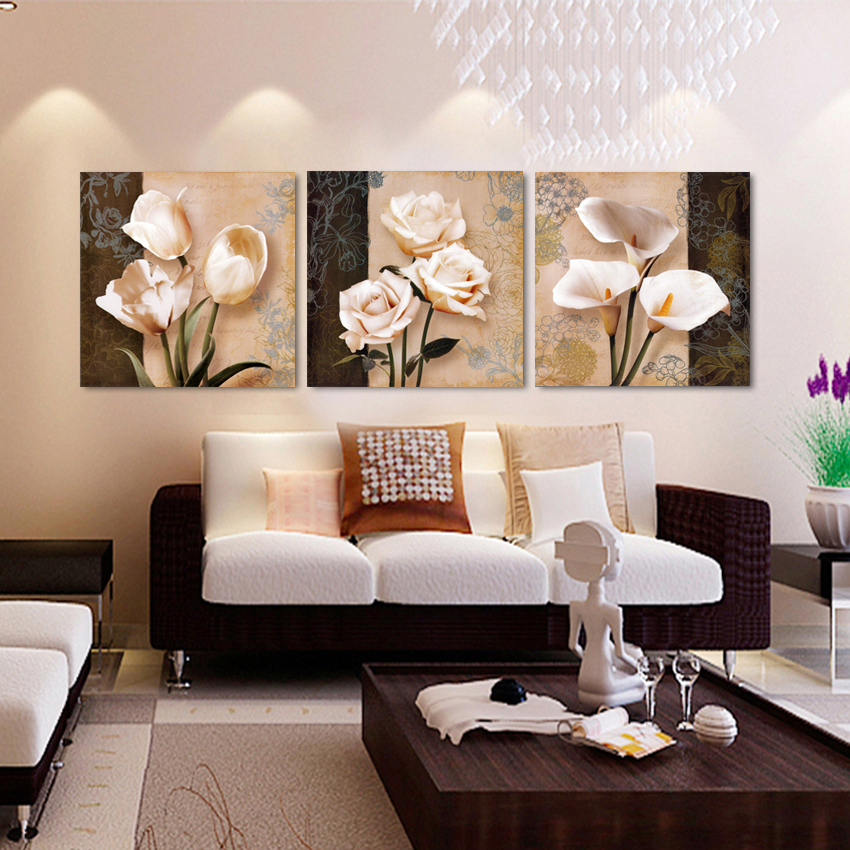 Wall art home decor framework canvas pictures 3 pieces abstract tulip flowers paintings for - Wall paintings for living room ...