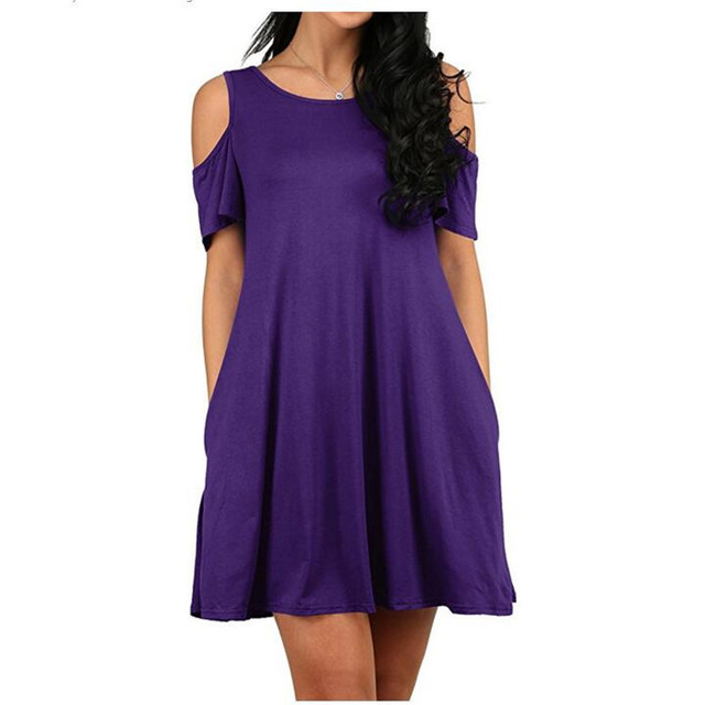 a2a4b5e092f2 2018 Hot Women Dress Sexy Off Shoulder Short Sleeve Loose Pocket Dresses  Female Summer Dress Purple Red Black Grey Blue Pullover