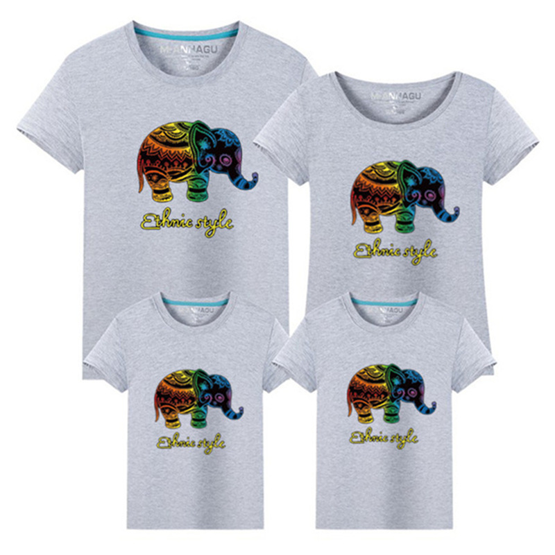 1 Stück Sommer Familie passende Kleidung Kurzarm Familienkleidung Baumwolle T-Shirt Elefant Familie passende Outfits Family Look