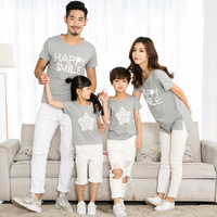 Free Shipping 2017 Summer Family Clothing Matching Family T Shirts Happy Smile Life