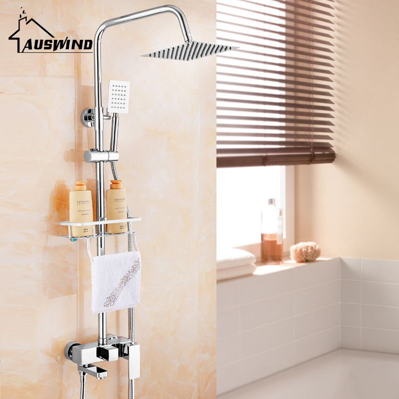 Modern Chrome Finish Wall Mount Shower Suit Copper Shower Faucet 8 Inch Fixed Shower Head Square Shower Faucet Set with Shelf china sanitary ware chrome wall mount thermostatic water tap water saver thermostatic shower faucet