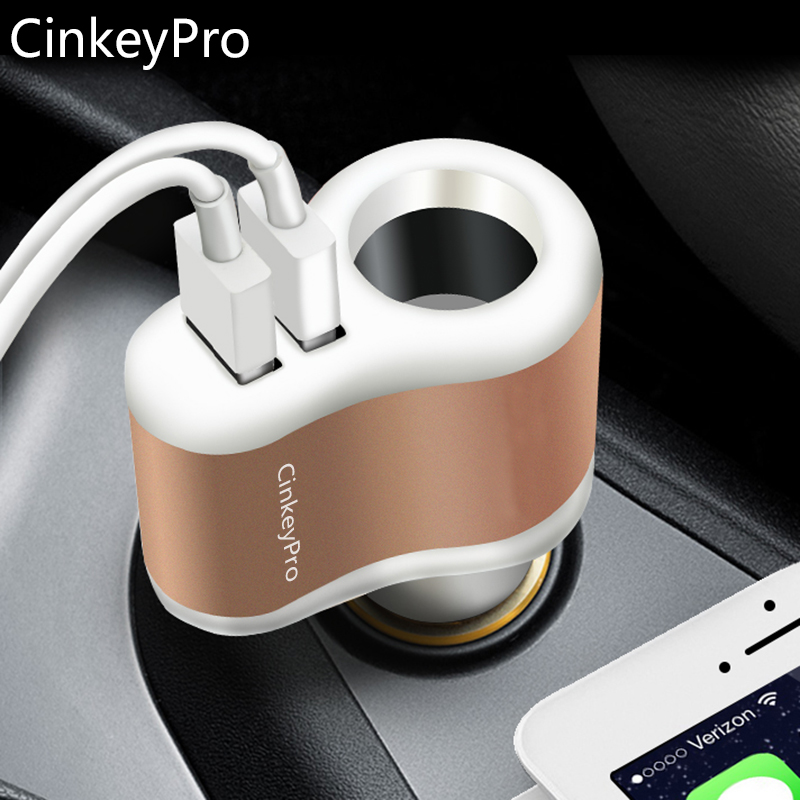 CinkeyPro Billaddare Cigarettändare Billaddare Adapter 2.1A 2-Port USB Smart Mobiltelefon Laddning För iPhone 6 iPad XiaoMi