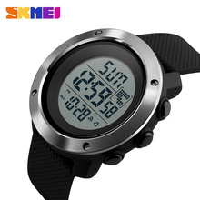 SKMEI iş basit izle erkekler PU kayış çok fonksiyonlu LED ekran saatler 5Bar su geçirmez dijital saat reloj hombre 1267