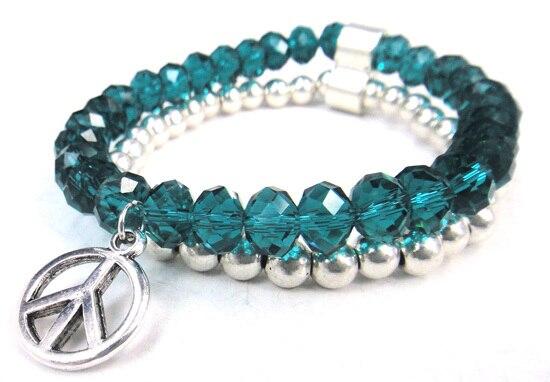 Новое поступление, 8 мм, блестящий серебряный хрустальный стеклянный браслет с подвеской мира, Женский растягивающийся браслет - Окраска металла: pic