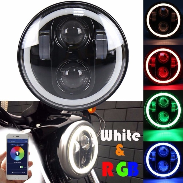 "H4 motorcycle headlight 5 3/4 "" 5.75 "" Motor Bluetooth Remote Round RGB LED Headlamp DRL For Harley Softail Dyna Sportster"