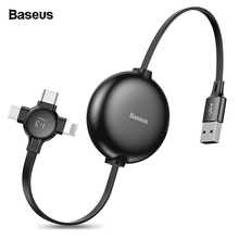 Baseus 3 in 1 Adjustable USB Cable For iPhone Xs Max Xr X 8 7 Fast Charging Charger Micro USB Cable For Samsung USB Type C Cable