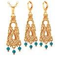U7 indio sistemas de la joyería para las mujeres de oro chapado en piedra de la turquesa de la vendimia conjuntos de collar aretes de pavo al por mayor s229