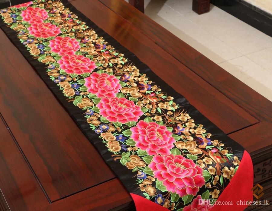 Роскошный тонкий лоскутный с вышивкой обеденный стол бегун китайский стиль шелк класса люкс парча декорация скатерть для стола - 3
