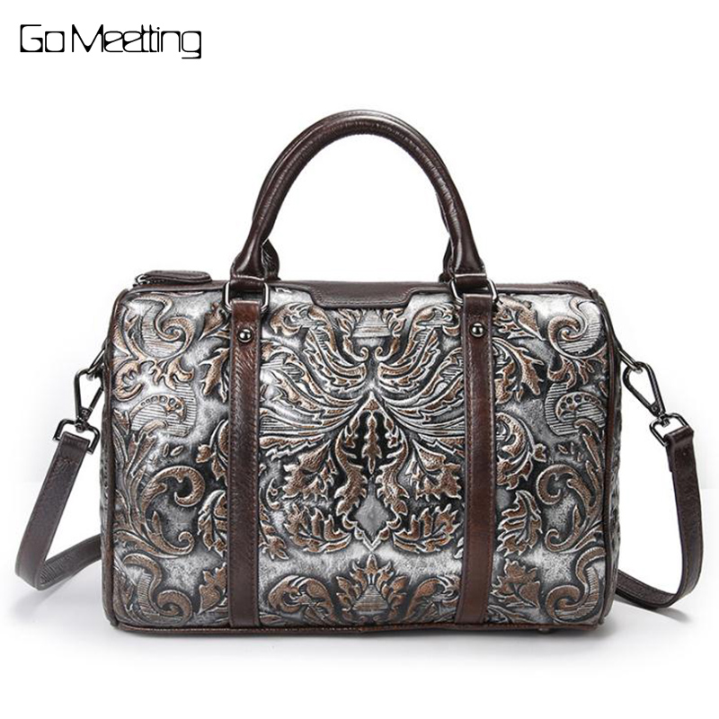 New Vintage Trend Women Genuine Leather Tote Bag Casual Crossbody Messenger Shoulder Bags Famous Brand Embossed Cowhide Handbag new women vintage embossed handbag genuine leather first layer cowhide famous brand casual messenger shoulder bags handbags
