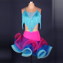 Flower fish tail Latin Dance costumes Modern Dance Dresses rhinestone hit colors tassel Tango/samba/Rumba Competition Dress